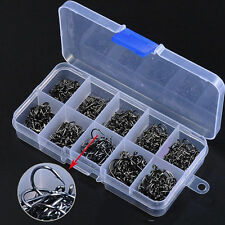 500pcs Assorted Sharpened Metal Fishing Hooks Tackle Lures Baits 10Size+Box QGW