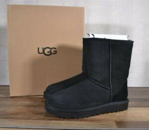 UGG Australia Classic Short II Suede Sheepskin Boots Size 9 MED Black 1016223