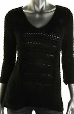 NWT $49 Style&co. Women's Black Solid  V-Neck 3/4 Sleeve Sweater Size: L