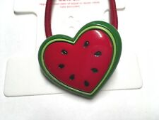 Gymboree Watermelon Picnic Ponytail Holder Used Girl Kid Red Heart Cute Seeds