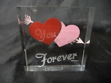 Laser Etched You + Me Forever Glass Paperweight