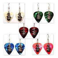 Snowman Christmas Charm Guitar Pick Earrings - Choose Color - Handmade in USA