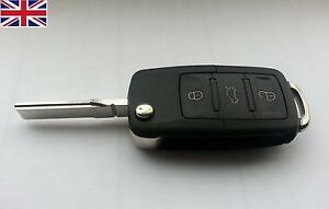 NEW Replacement 3 button flip key case for VW Volkswagen Golf MK5 remote fob