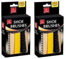 2 x Cepillo de zapatos cepillos de limpieza Kit Set Gratis Brillo Tela Zapatos Cuidado
