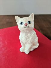 Vintage Royal Doulton Sitting White Cat China Figurine w/ Blue Eyes & Pink Nose