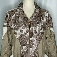Vintage Cabin Creek Nylon Windbreaker Jacket Womens M Floral Roses Pockets