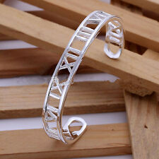Womens 925 Sterling Silver Classic Roman Numerals Cuff  Bangle Bracelet #BR268