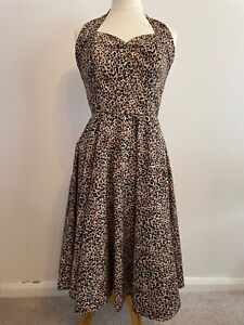 Vivien of Holloway Leopard Print Halter Neck Circle Dress Size 14