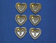 Single Heart Cross Concho 25mm by 25mm  6 pack Craft larp Leathercraft hobby