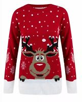 🎄NEW RED or BLACK RUDOLPH KNITTED XMAS JUMPER TOP LADIES MENS CHRISTMAS GIFT🎄