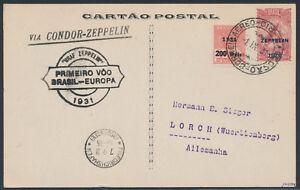 Zeppelin 1.SAF 1931 brasilianische Post Zeppelinmarke nach Deutschland (S15429)