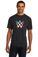 New WWE World Wrestling Entertainment White/Red Logo Black Tee Mens John Cena