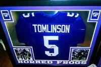 LaDainian Tomlinson Signed TCU 35x43 Custom Framed Jersey (Tomlinson Hologram)