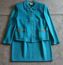 ST. JOHN COLLECTION BY MARIE GRAY TEAL BLUE 6 BUTTON JACKET W/MATCHING SKIRT SZ8