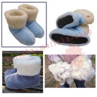 WOMEN'S SHEEP WOOL BLUE SLIPPERS FELT BOOTS, SHEEPSKIN SNUGGS VALENKI