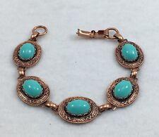 Vintage Solid Copper Blue-Green Lucite Cabochon Link Bracelet