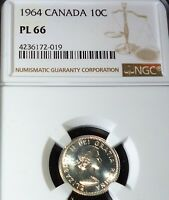 1964 CANADA 10 CENTS   NGC PL66 - LOVELY  SILVER COIN