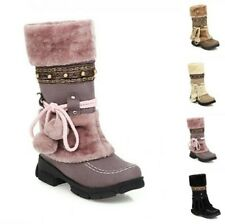 Women Furry Mid Calf Boots Fashion Creeprs Heel Winter Warm Snow Boots 35/43 B