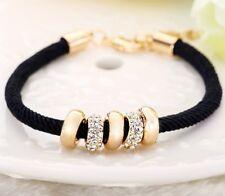 Black Braided Leather Rope 14k White gold Finish Bracelet Wristband Diamond
