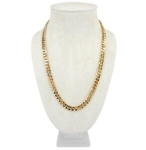 """Mens Concave Cuban link Chain 8mm 20"""" 24"""" 30"""" inch Necklace 14k Gold Plated"""