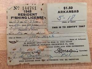 VINTAGE 1948 ARKANSAS RESIDENT FISHING PAPER LICENSE