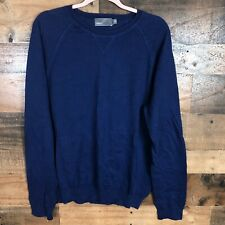 Vince Elbow Patch Blue Mens Sweater Large