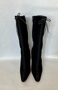 Rare Christian Louboutin Jacky Black Suede Calf Thin Heeled Boots Laced-Up Sz 38