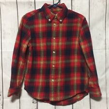 Ralph Lauren Plaid Flannel Shirt Boys 5 Red Blue Long Sleeve Button Front