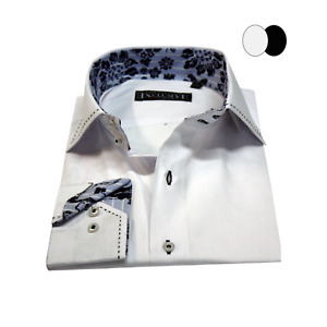 Men's Collar Stitch detailed Long Sleeve Shirt Casual Wear Slim Fit Size M&2XL