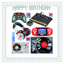 Fantastic Colourful Psp & Xbox Record Tape Player Happy Birthday Greeting Card