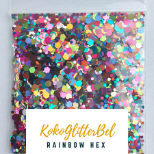 Incredible Holographic Rainbow Glitter Mix Hex | 1 TSP | Acrylic Gel Nail Art