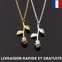 Collier Pendentif Rose Fleur Femme Cadeau Anniversaire Bijoux Mode Charme
