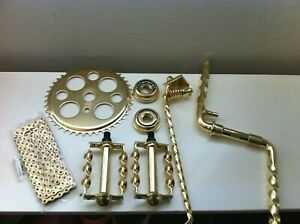 "Gold Twisted Crank Package 6- Items for 26"" Lowrider Cruiser Bikes New"