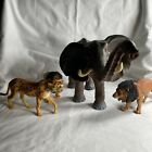 2007 Toy Major Trading Co Rubber Elephant Potted Up With Two Lions And Cheeta.