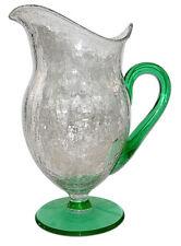 Morgantown Bolero Crackle (Craquelle) Glass Venetian Green /Crystal Ftd Pitcher