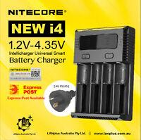 Nitecor New i4 Smart Battery Charger 4-Slot Li-ion Lifepo4 18650 w Car Adapter