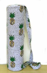 Hand Block Multi Colour Pineapple Printed Yoga Mat Carrier Bag Gym Exercise Bags