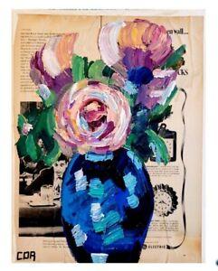 CORBELLIC IMPRESSIONIST BLUE VASE ART MIXED MEDIA ORIGINAL COLLECTIBLE FINE WALL