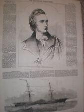 Duke of Argyll et le calorique navire Eriksson 1853 OLD PRINT ref T