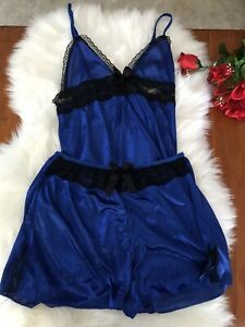 Blue Chemise Shorts Lingerie Set $4 EXPRESS Small Black Lace Silky Satin Bed