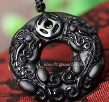Natural Black Obsidian Carved Chinese Coin PiXiu Lucky Pendant + Beads Necklace