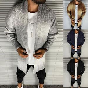 Men Knitted Cardigan Gradient Knitwear Long Sleeve Sweater Warm Tops Coat Jacket