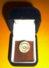 1952 OLYMPIC GAMES HELSINKI VINTAGE ORIGINAL SMALL PIN BADGE BUTTON & CASE RARE!