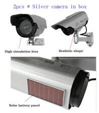 2 X Solar Power Silver Fake Dummy Security CCTV Camera Waterproof Surveillance