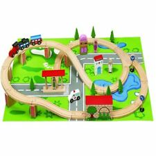 50PC WOODEN PLAY TRAIN TRACKS ROAD VILLAGE TOY MAT PLAYMAT SET IN BOX XMAS GIFT