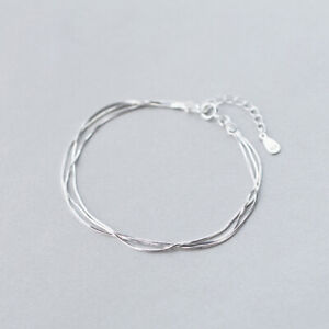 Woman's REAL S925 Sterling Silver Multiple Layers Snake Chain Bracelet Bangle