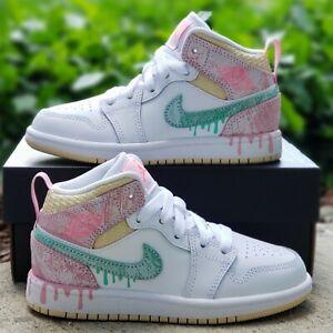 Nike Jordan 1 Mid SE Ice Cream PS Girls 11C White Green Glow Arctic Punch :2695