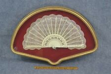 antique hand fan framed white lace carved wood ribs gold gilt Victorian vg