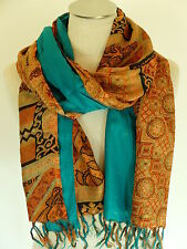 FOULARD ECHARPE 100% pure SOIE - INDE étole silk pashmina scarf châle shawl  18 3115711bb4f