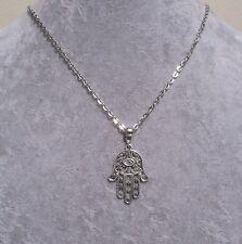 Hamsa Palm 'Eye of Fatima' Amulet Silver Chain Necklace.Handmade